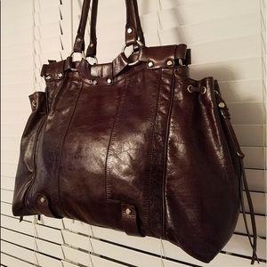 Francesco Biasia Burgundy Leather Satchel Large